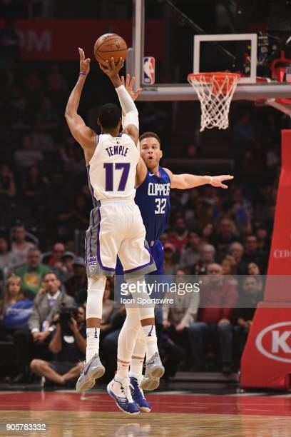 Sacramento Kings Forward Garrett Temple shoots over Los Angeles Clippers Forward Blake Griffin during an NBA game between the Sacramento Kings and...
