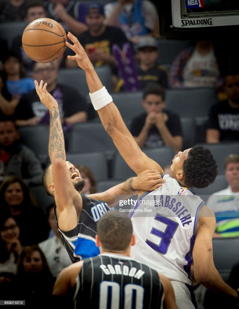 Sacramento Kings forward Skal Labissiere (3) blocks a shot by Orlando Magic guard Evan Fournier (10) on Monday, March 13, 2017 at Golden 1 Center in Sacramento, Calif.