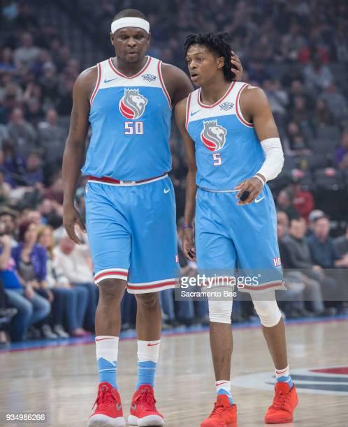 Sacramento Kings forward Zach Randolph talks with teammate Sacramento Kings guard De'Aaron Fox during their game against the Detroit Pistonsat the...