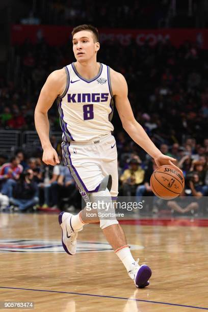 Sacramento Kings Guard Bogdan Bogdanovic attacks the basket during an NBA game between the Sacramento Kings and the Los Angeles Clippers on January...