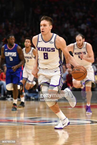 Sacramento Kings Guard Bogdan Bogdanovic dribbles up the court during an NBA game between the Sacramento Kings and the Los Angeles Clippers on...