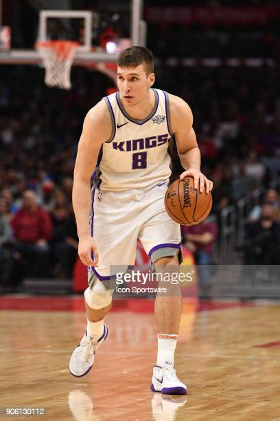 Sacramento Kings Guard Bogdan Bogdanovic looks to make a pass during an NBA game between the Sacramento Kings and the Los Angeles Clippers on January...