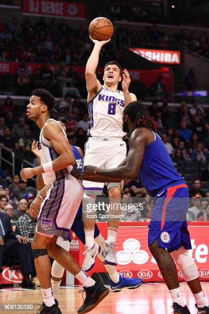 Sacramento Kings Guard Bogdan Bogdanovic rises up for a jump shot during an NBA game between the Sacramento Kings and the Los Angeles Clippers on...