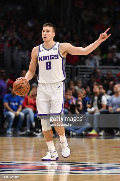 Sacramento Kings Guard Bogdan Bogdanovic sets up the offense during an NBA game between the Sacramento Kings and the Los Angeles Clippers on January...