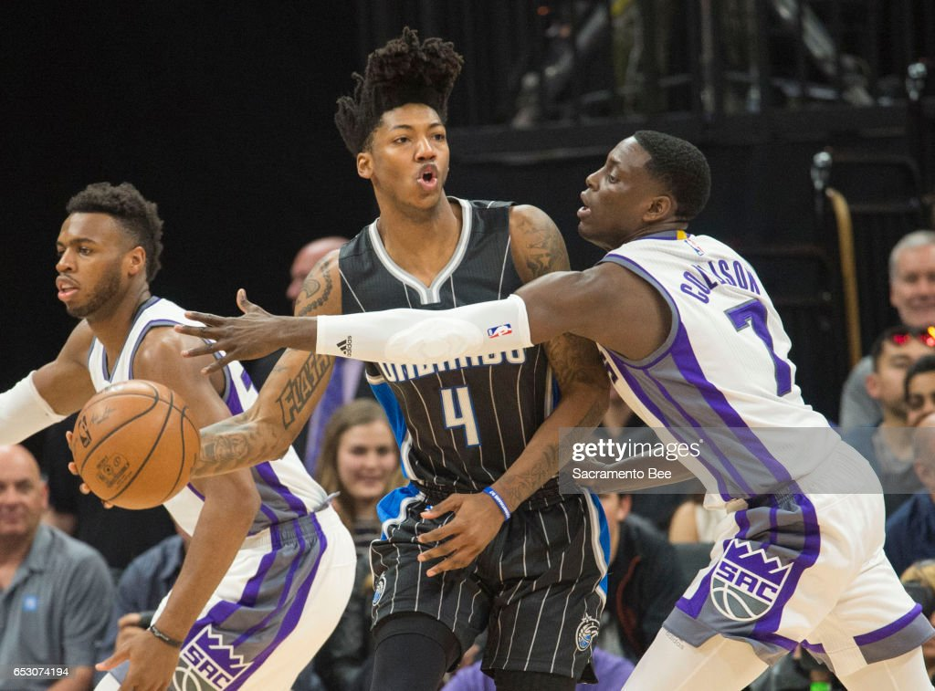 Sacramento Kings guard Darren Collison (7) defends Orlando Magic guard Elfrid Payton (4) on Monday, March 13, 2017 at Golden 1 Center in Sacramento, Calif.