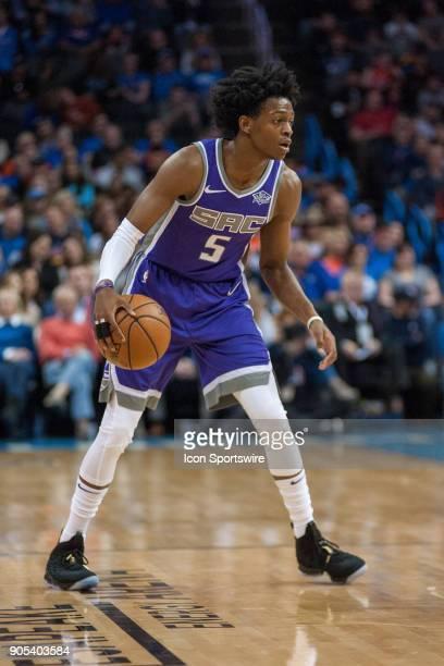 Sacramento Kings Guard De'Aaron Fox waiting for a play to develop versus Oklahoma City Thunder at Chesapeake Energy Arena Oklahoma City OK
