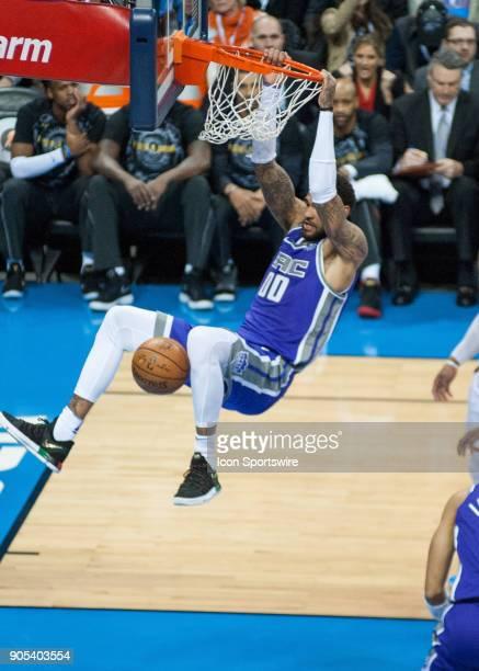 Sacramento Kings Guard Frank Mason dunking the ball versus Oklahoma City Thunder at Chesapeake Energy Arena Oklahoma City OK