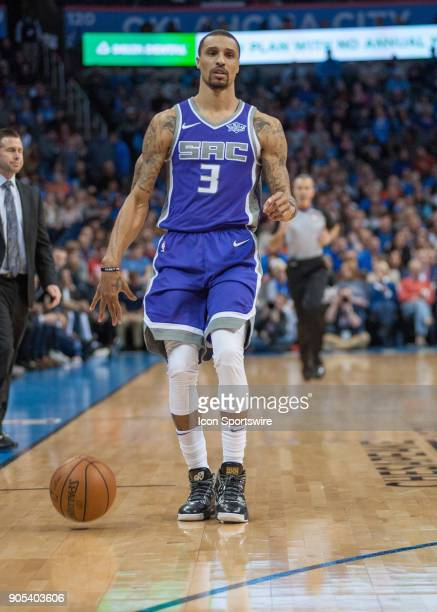Sacramento Kings Guard George Hill bringing the ball up court versus Oklahoma City Thunder at Chesapeake Energy Arena Oklahoma City OK