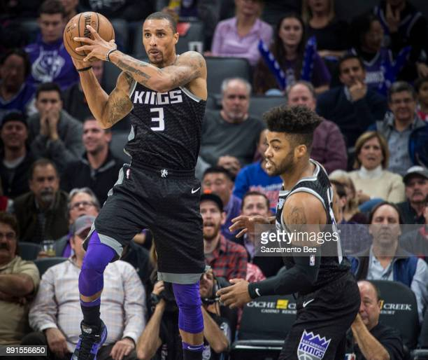 Sacramento Kings guard George Hill picks up a defensive rebound against the Phoenix Suns on Tuesday Dec 12 at the Golden 1 Center in Sacramento Calif