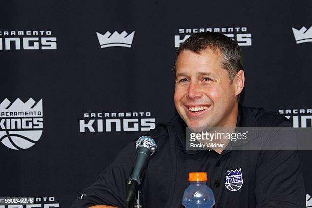 Sacramento Kings new Head Coach Dave Joerger speaks to the media at a press conference on May 10 2016 at the Kings Experience Center in Sacramento...