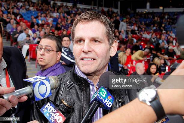 Sacramento Kings owner Joe Maloof talks with the media before the Kings take on the Los Angeles Clippers on February 28 2011 at ARCO Arena in...