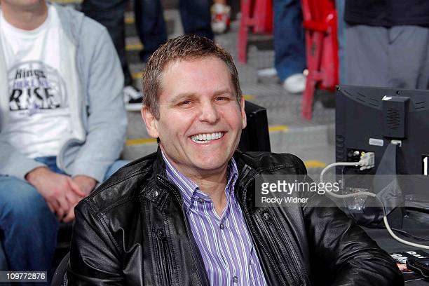 Sacramento Kings owner Joe Maloof watches his team take on the Los Angeles Clippers on February 28 2011 at ARCO Arena in Sacramento California NOTE...