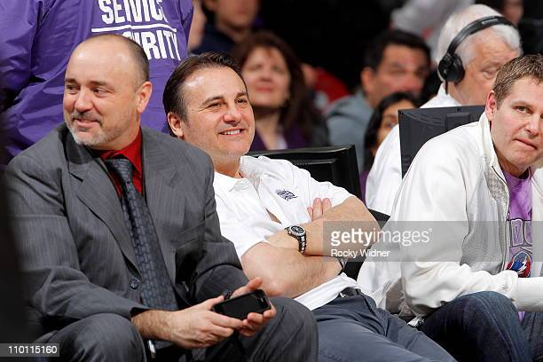 Sacramento Kings owners Gavin and Joe Maloof sit courtside with Executive VP of Media Relations Troy Hanson as the Kings take on the Portland Trail...