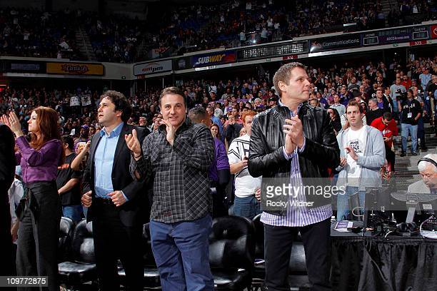 Sacramento Kings owners George Gavin and Joe Maloof cheer on their team against the Los Angeles Clippers on February 28 2011 at ARCO Arena in...