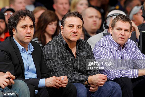 Sacramento Kings owners George Gavin and Joe Maloof sit court side against the Los Angeles Clippers on February 28 2011 at ARCO Arena in Sacramento...