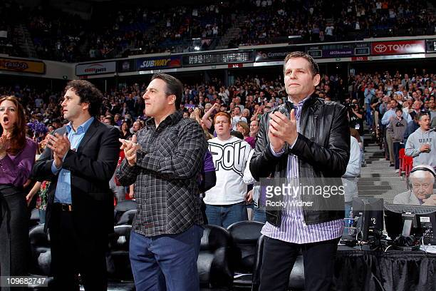 Sacramento Kings owners George Gavin and Joe Maloof watch the Kings take on the Los Angeles Clippers on February 28 2011 at ARCO Arena in Sacramento...