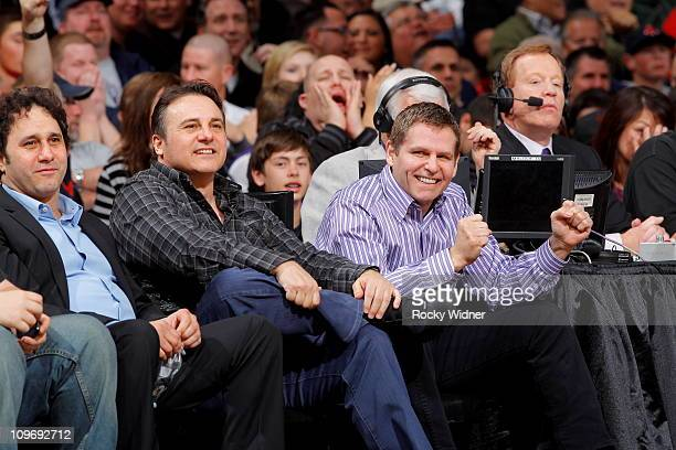 Sacramento Kings owners George Gavin and Joe Maloof watch their team take on the Los Angeles Clippers on February 28 2011 at ARCO Arena in Sacramento...