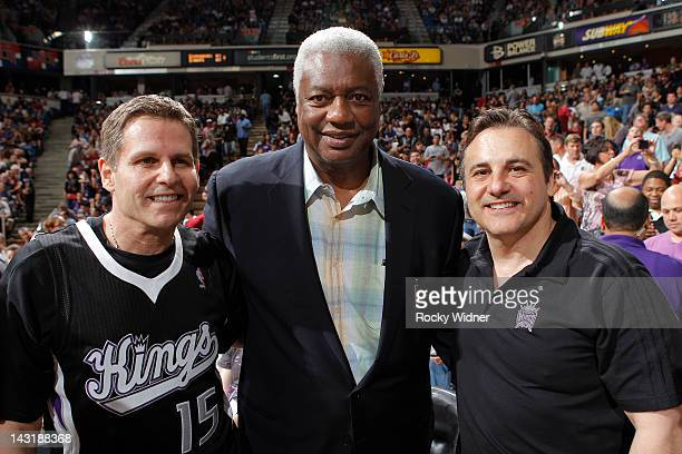 Sacramento Kings Owners Joe and Gavin Maloof pose for a picture with Sacramento Kings great, Oscar Robertson on April 20, 2012 at Power Balance...
