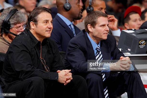 Sacramento Kings owners Joe and Gavin Maloof watch their team take on the Denver Nuggets on January 6 2011 at ARCO Arena in Sacramento California...