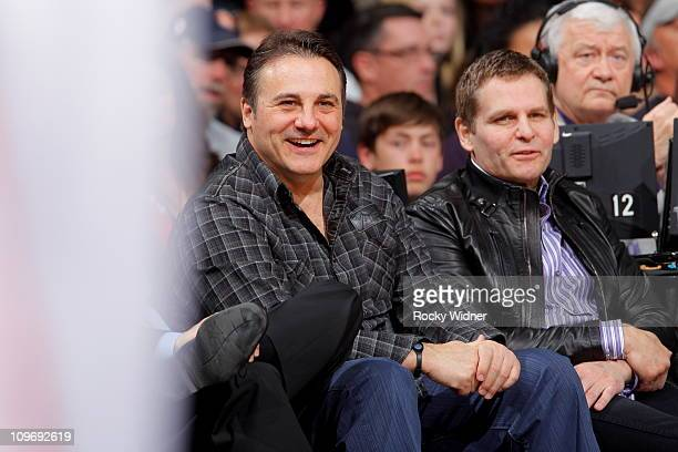 Sacramento Kings owners Joe and Gavin Maloof watch their team take on the Los Angeles Clippers on February 28 2011 at ARCO Arena in Sacramento...