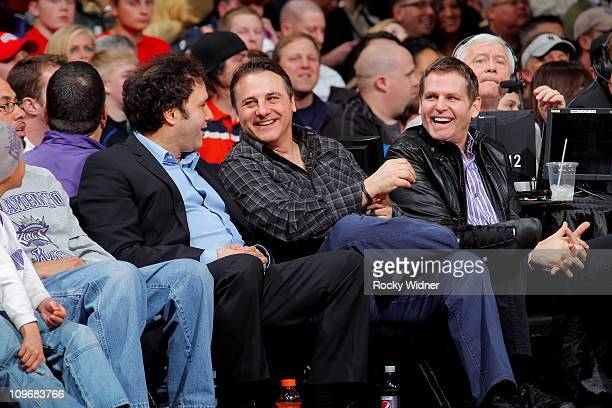 Sacramento Kings owners Joe Gavin and George Maloof watch their team take on the Los Angeles Clippers on February 28 2011 at ARCO Arena in Sacramento...