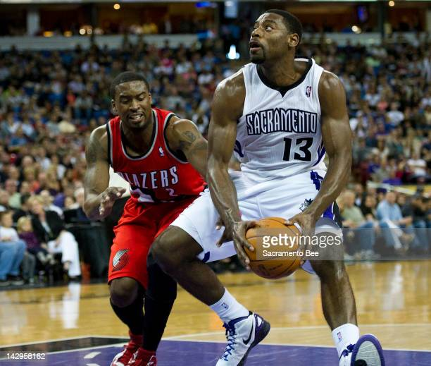 Sacramento Kings point guard Tyreke Evans guarded ny Portland Trail Blazers guard Wesley Matthews looks for an opening at Power Balance Pavilion in...