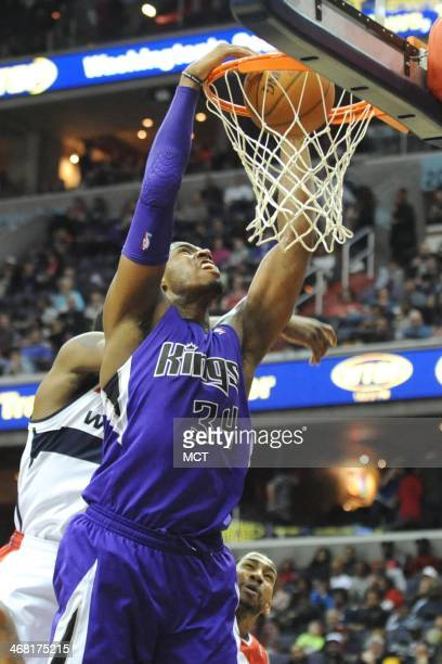 Sacramento Kings power forward Jason Thompson makes a jam during the first half against the Washington Wizards at the Verizon Center in Washington on...