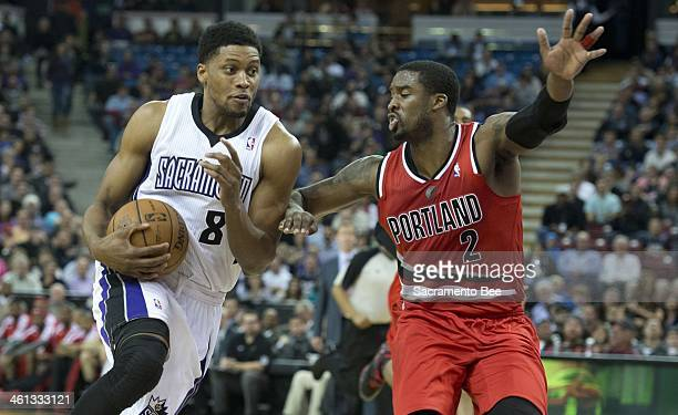 Sacramento Kings small forward Rudy Gay drives to the basket against the Portland Trail Blazers shooting guard Wesley Matthews at Sleep Train Arena...
