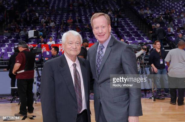 Sacramento Kings TV analyst Jerry Reynolds and announcer Grant Napear pose for a photo prior to the game against the Houston Rockets on April 11 2018...