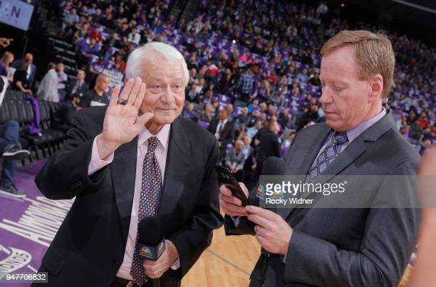 Sacramento Kings TV analyst Jerry Reynolds and announcer Grant Napear prior to the game against the Houston Rockets on April 11 2018 at Golden 1...