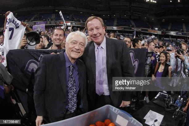Sacramento Kings TV announcers Jerry Reynolds and Grant Napear during the game between the Los Angeles Clippers and Sacramento Kings on April 17 2013...