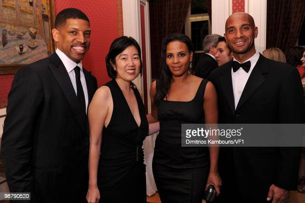 Sacramento Mayor Kevin Johnson Michelle Rhe Michelle Fenty and Washington DC Mayor Adrian M Fenty attend the Bloomberg/Vanity Fair party following...