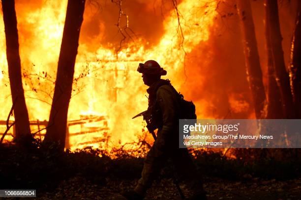 Sacramento Metropolitan firefighters battle the Camp Fire in Magalia Calif Friday November 9 2018
