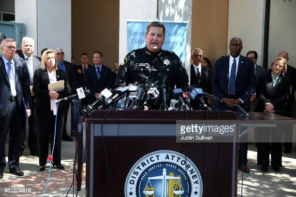 Sacramento sheriff Scott Jones speaks about the arrest of accused rapist and killer Joseph James DeAngelo during a news conference on April 25 2018...
