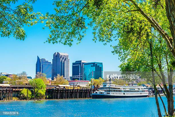 sacramento skyline and riverfront - sacramento stock pictures, royalty-free photos & images