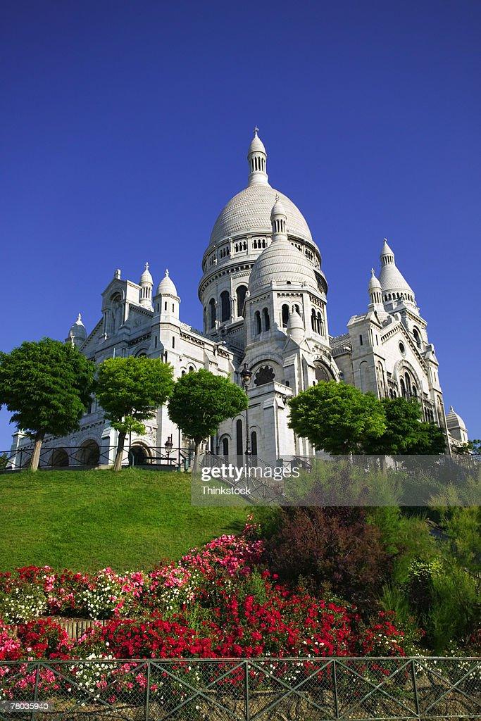 sacre coeur  garden    paris stock photo