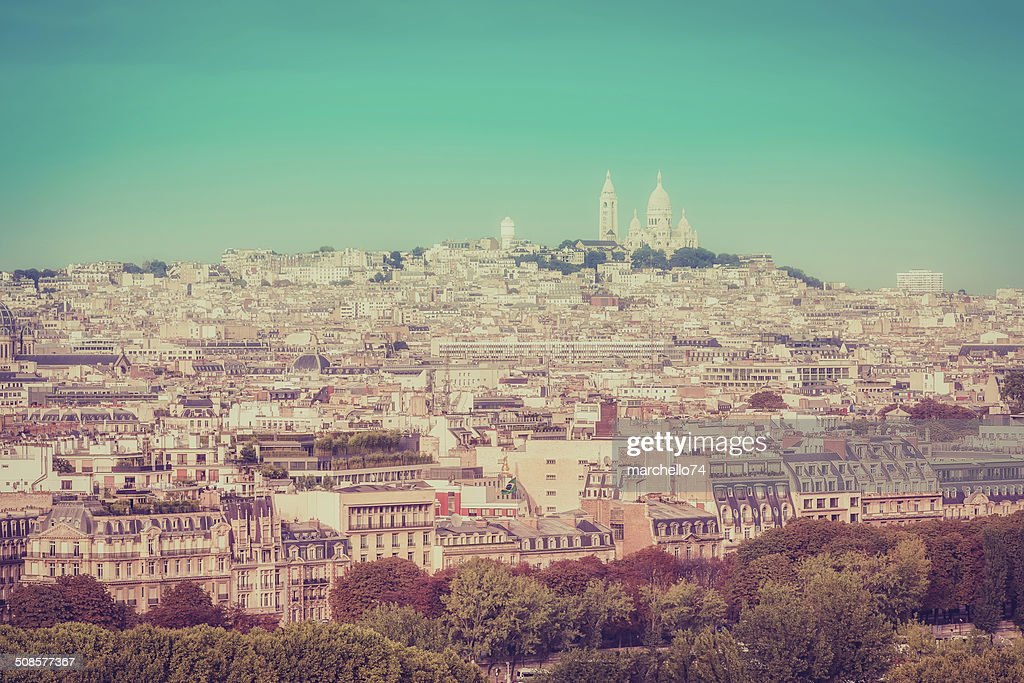 Sacre Coeur Basilica on the hill in Paris : Stock Photo