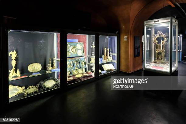 Sacred furniture displayed in the museum of San Gennaro in the cathedral of Naples All gold objects kept in armored display cases