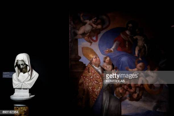 Sacred furniture displayed in the museum of San Gennaro in the cathedral of Naples The bust of the Madonna