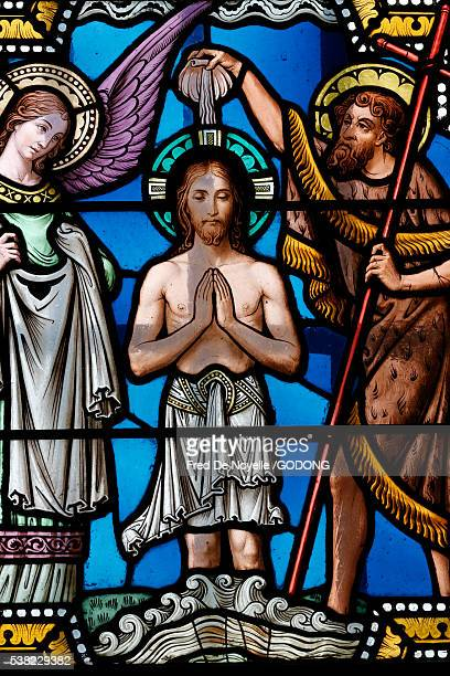 sacred heart basilica, paray-le-monial. stained glass window. jesus christ's baptism. - baptism stock pictures, royalty-free photos & images