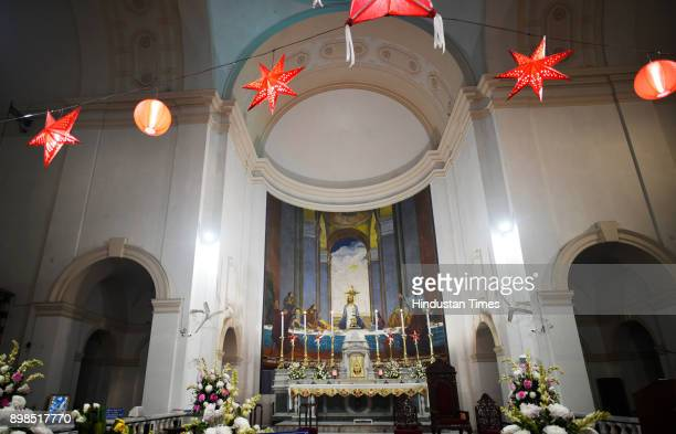 Sacred Heart Chathedral is decorated on the occasion of Christmas on December 25 2017 in New Delhi India Christmas marks the annual commemoration of...