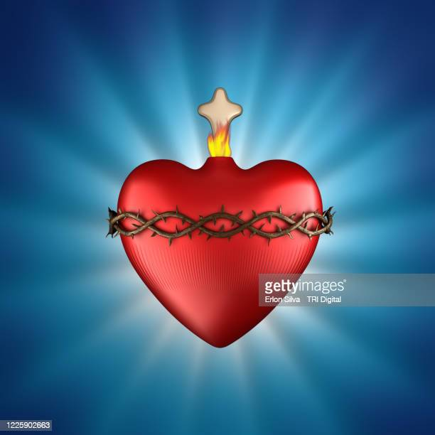 sacred heart of jesus with crown of thorns and a cross - dirty easter stock pictures, royalty-free photos & images