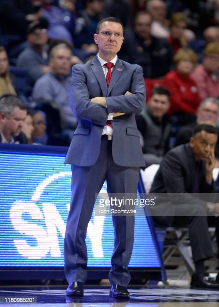 Sacred Heart Pioneers head coach Anthony Latina during the game as the Sacred Heart Pioneers take on the UConn Huskies on November 8 at Gampel...