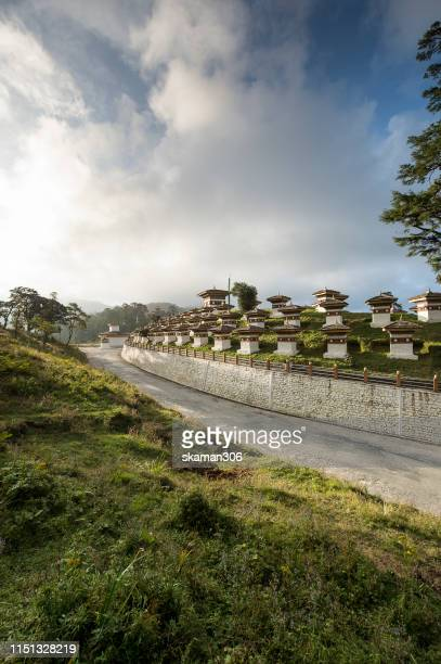 thimphu bhutan september 27,2012  sacred landscape of dochula pass 108 chortens landmark of thimphu bhutan - bavaria stock pictures, royalty-free photos & images