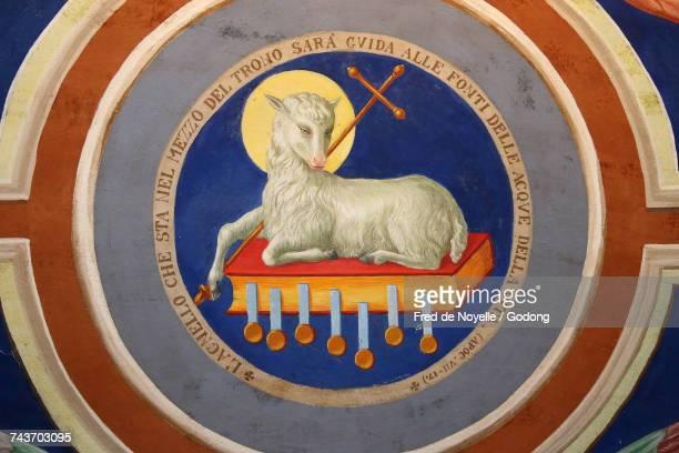 Sacred Mountain of Varallo. The lamb of god (Agnus Dei). Italy.