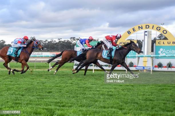 Sacred Palace ridden by Declan Bates wins the Apiam Animal Health BM64 Handicap at Bendigo Racecourse on July 01, 2021 in Bendigo, Australia.