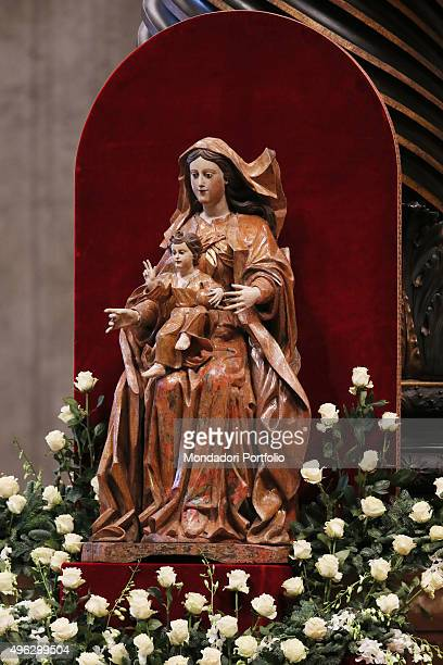 Sacred statue inside Saint Peter's Basilica during the mass celebrated by Pope Francis for the Solemnity of Blessed Virgin Mary, Mother of God and...
