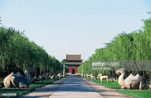 Sacred Way lined with stone figures with the Stele Pavilion in the background Ming Dynasty Tombs Peking China 15th century Detail