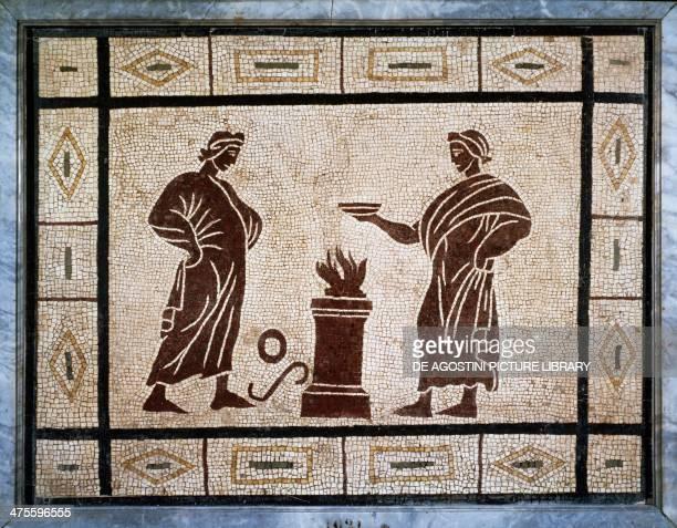 Sacrifical scene mosaic Roman civilisation 1st century AD Rome Museo Nazionale Romano Terme Di Diocleziano