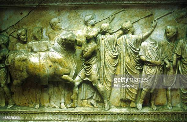 Sacrificial procession of a bull preceded by trumpeters 3040 Relief from an altar of the Vicomagistri the Roman organisation responsible for police...